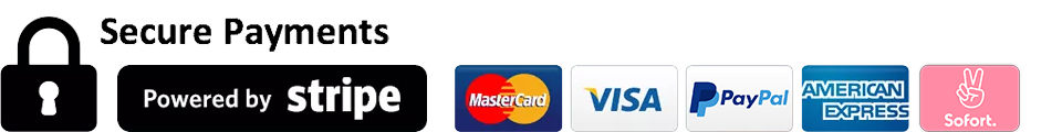 Badges: SSL, Stripe Secure, Paypal, VISA, Mastercard, Amex, Sofort
